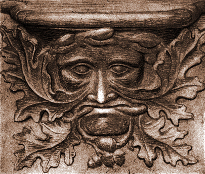 Etching of a Medieval misericord at the abbey-church of Vendôme, France