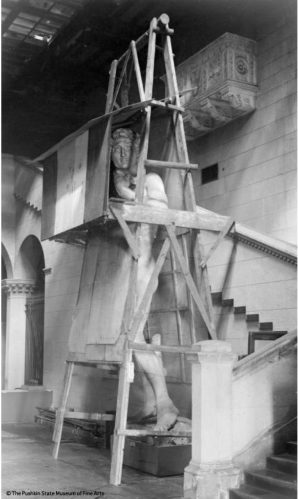 The plaster cast of David in the Italian Court during the World War II. 1941.
