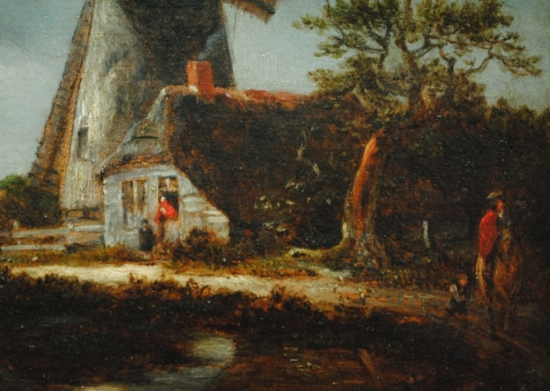 Detail from Constable after Jacob van Ruisdael's Landscape with Windmills near Haarlem by permission of The Trustees of Dulwich Picture Gallery, London