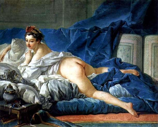 "This painting prompted art critic Denis Diderot to claim that Boucher was ""prostituting his own wife"".his reputation came under increasing critical attack during the last years of his career L'Odalisque, François Boucher, ca.1749. Musée du Louvre"