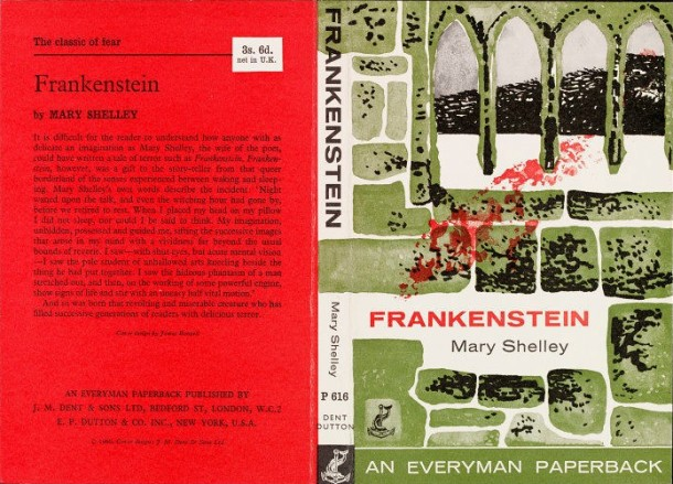 Dust Jacket to Mary Shelley's 'Frankenstein', designed by James Boswell, published by J. M. Dent & Sons, 1960. Museum no. E.736-1982.