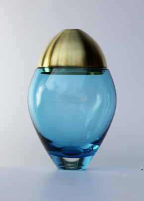 Glass Jar Tall Blue & Brass