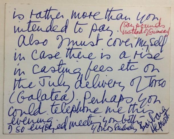 Note from Barbara Hepworth to Carol Hogben