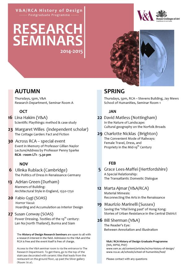 History of Design seminar series 2014/15, poster by Dario Szorza