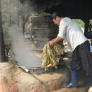 Boiling the mulberry fibres