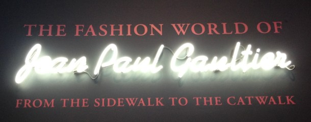 Entrance to the Jean Paul Gaultier Exhibition, Barbican.