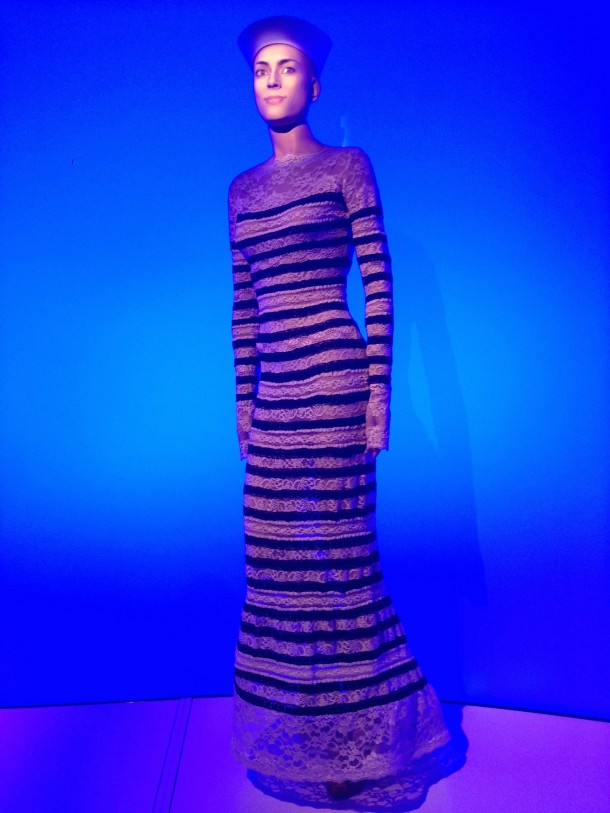 Mannequin dressed in Gaultier's iconic nuatical stripes. © Katherine Elliott, 2014