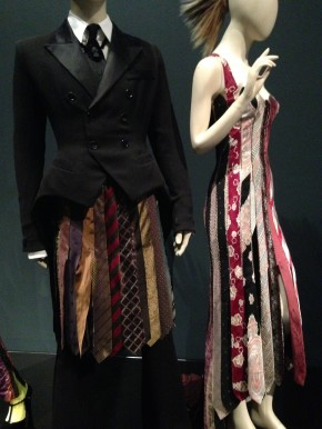 Women's dress and Men's kilt made using ties, Barbican. © Katherine Elliott, 2014