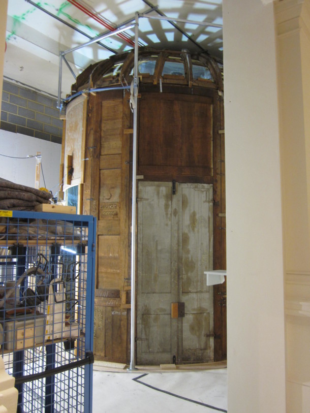 The Italian mirrored cabinet, during construction