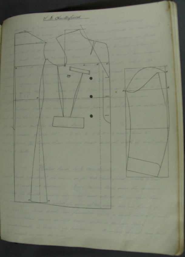 Pattern for a Chesterfield coat, ca.1911-ca.1928. Archive of Art and Design, AAD/2008/10/1/5/3. © Victoria and Albert Museum, London
