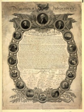 A facsimile of the Declaration of Independence, a design registered by John Binns in 1818 and printed in 1819. © Library of Congress