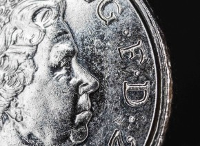 Macro image of a five pence coin