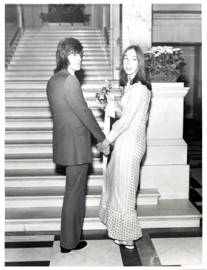 Jenny Copsey and her new husband on the steps of St Pancras Town Hall at their wedding in 1971