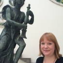 Jenny and one of the Wolsey Angels in our Medieval and Renaissance Gallery, Room 50.