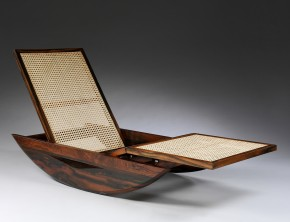Rocking chaise longue made of rosewood and cane, designed by Joaquim Tenreiro ca. 1947, W.6-2014. Victoria and Albert Museum, London