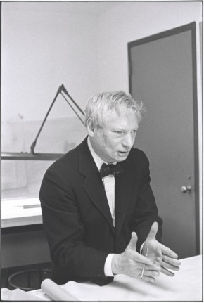 PH.843-1978 Black and white photograph by Henri Cartier-Bresson depicting the American architect, Louis Kahn, in his Philadelphia office.  USA, 1961.