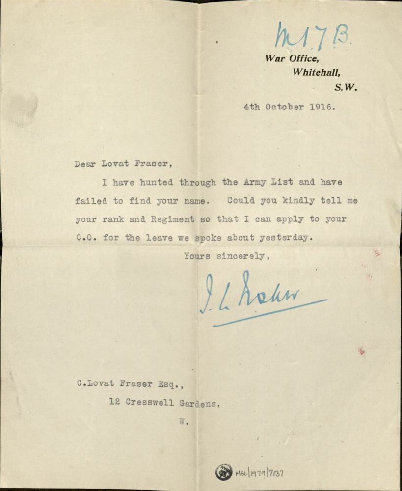 Letter from the War Office, 1916 Museum no. 38041800823411 ©Victoria and Albert Museum