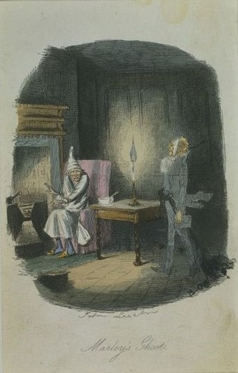 Marley's Ghost, illustration for Charles Dickens's A Christmas Carol, John Leech, 1843..