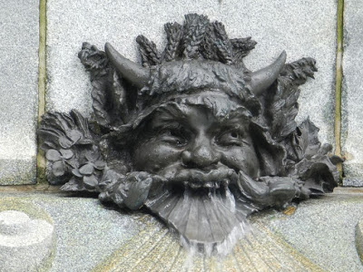 Mascaron on the Maisonneuve Monument in Place d'Armes, Montreal. Photograph from http://cocoduc.blogspot.co.uk/2013/08/bienvenue.html The Maisonneuve Monument in Place d'Armes is dedicated to of Paul Chomedey de Maisonneuve, the founder of Montreal. The monument was created by sculptor Louis-Philippe Hébert and unveiled in 1895