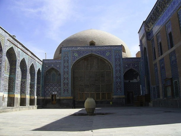 The Jannatsara building (c.1539, dome rebuilt late 19th century), seen from the courtyard within the Safavid shrine complex of Sheikh Safi al-Din (d.1334), Ardabil, Iran © Used under CC-BY-SA-3.0