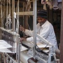 Khadi cotton being woven on the loom