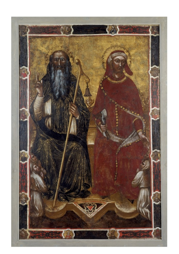 Reverse of processional panel showing St. Anthony Abbot (L) and St. Eligius (R), Florence, ca. 1370 © Victoria and Albert Museum, London