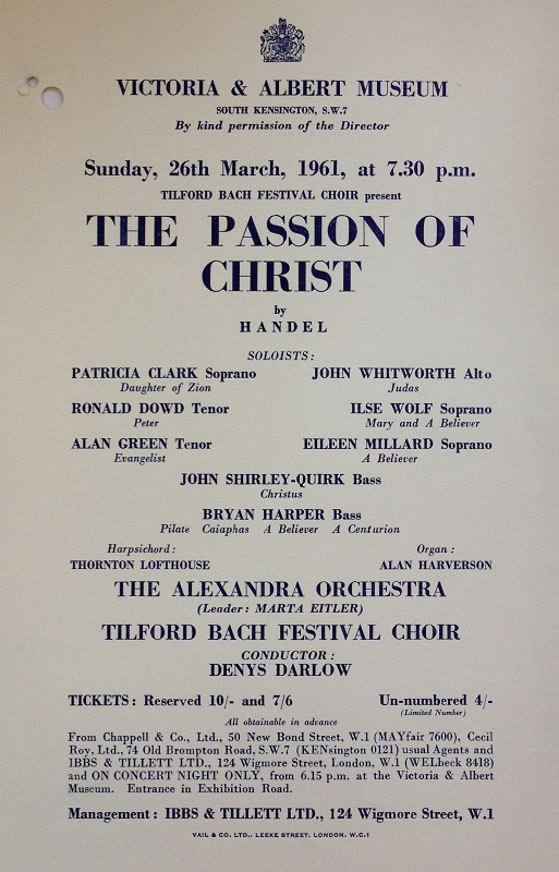 Concert flyer for Handel's The Passion of Christ