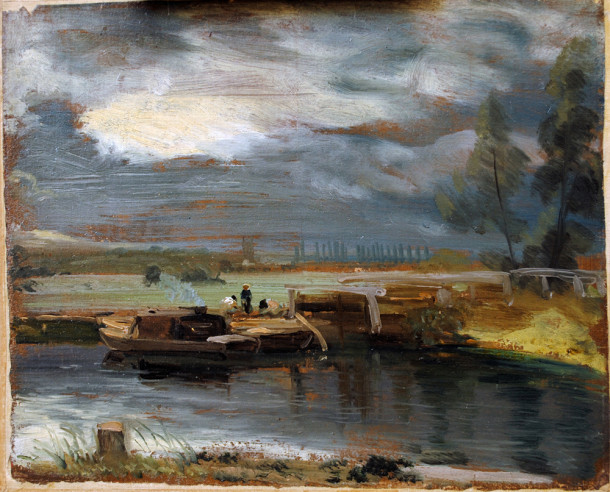 John Constable, 'Barges on the Stour, with Dedham Church in the Distance', 1811, oil on paper. © Victoria and Albert Museum, London.