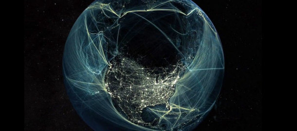 The New World Anthroposphere: Cities, roads, railways, transmissions lines and underwater cables. Image: courtesy of Globaia.org