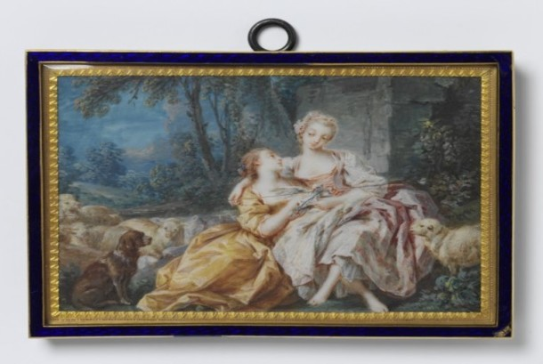 Landscape miniature of a pastoral scene, after Bouchers The Love Letter, watercolour on ivory, attributed to Pierre Antoine Baudouin (1723-1769).