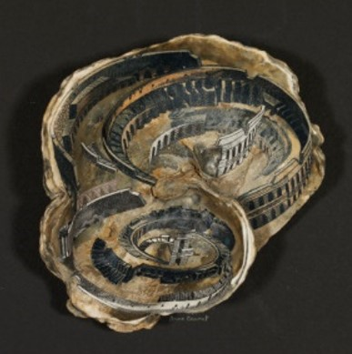 'Whirlpool', seashell with wood-engraved image of a structure like a Roman amphitheatre and Italian banknote, by Anne Desmet, UK, 2005. V&A E.562-2007