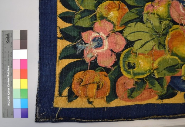 Reverse of tapestry, showing the original vibrancy of the colours © Victoria and Albert Museum, London