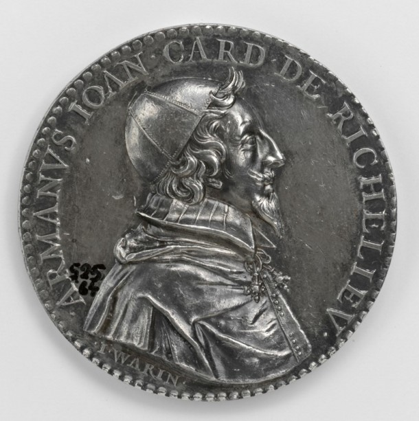 Silver medal depicting Cardinal Richelieu, by Jean Warin, French, dated 1631. V&A 525-1864 NB: This medal will also feature in The Cabinet