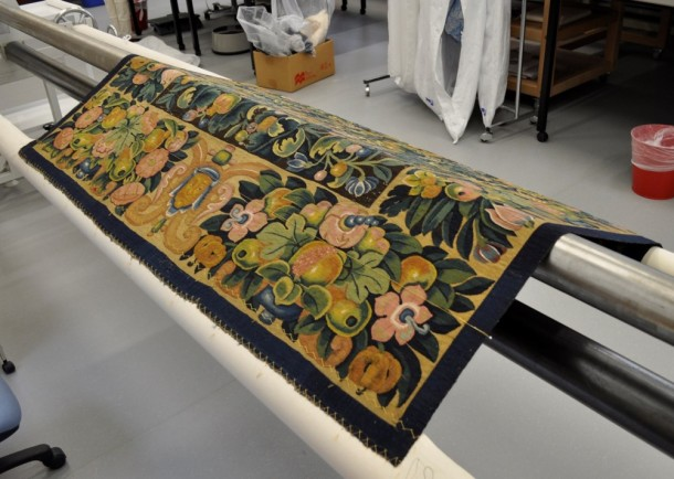 Tapestry conservation – about to begin! © Victoria and Albert Museum, London