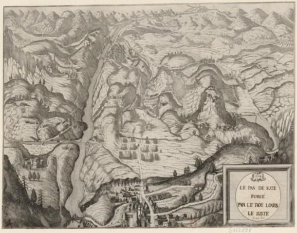 Le Pas de Suze forcé par le Roy Louis le Juste, engraving and etching, 17th century. Source gallica.bnf.fr / Bibliothèque nationale de France