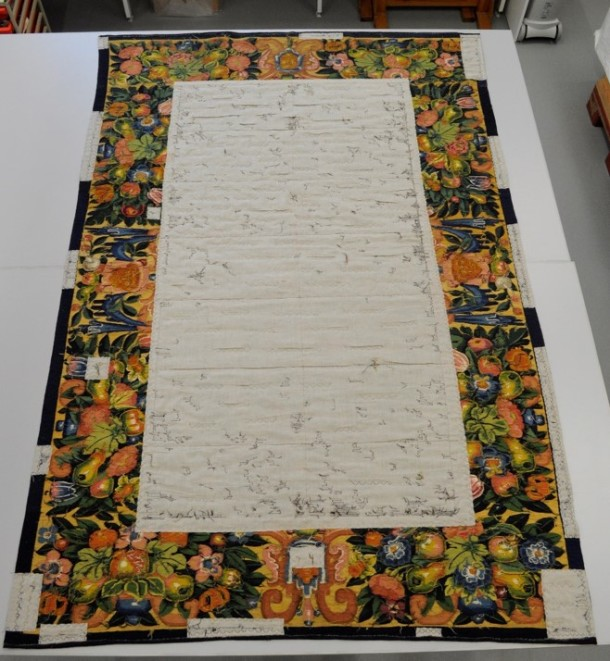 Reverse of tapestry after conservation © Victoria and Albert Museum, London