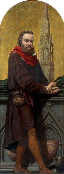 William Torel, design for a mosaic in the V&A's 'Kensington Valhalla', Richard Burchett, oil on canvas, ca.1868. Museum no. 873-1868 © Victoria and Albert Museum, London