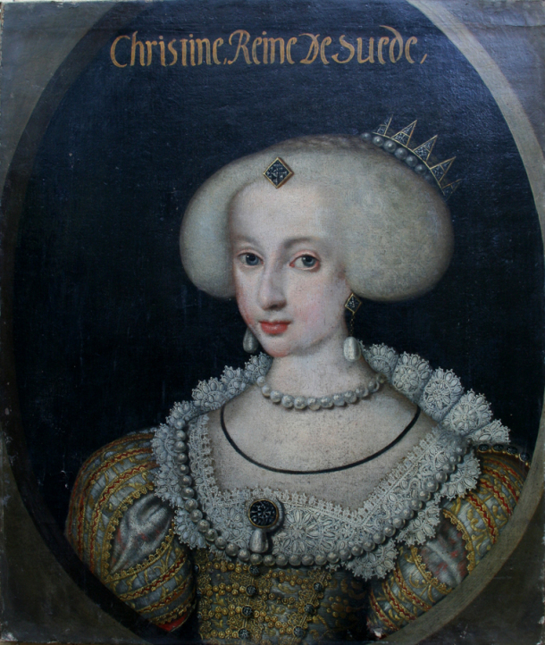 Portrait of Christine of Sweden, by royal court painter Jacob Henry Elbfas, 1640-42. Nationalmuseum, Stockholm