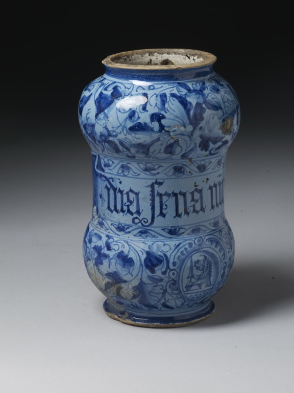 Drug jar, tin-glazed earthenware, Italy, 1593. Museum no. 5402-1859 © Victoria and Albert Museum
