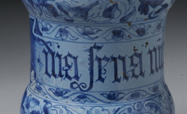 Drug jar [detail], tin-glazed earthenware, Italy, 1593. Museum no. 5402-1859 © Victoria and Albert Museum