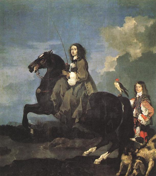 Christina of Sweden, by Sébastien Bourdon, 1653. Museo del Prado. - This painting was given by Pimentel to Philip IV of Spain.