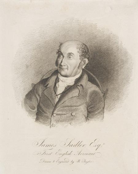Portrait of James Sadler, stipple engraving by B. Taylor, 1812. Museum no. E.4748-1923