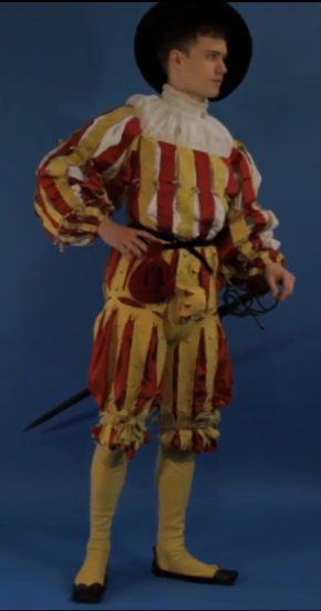 Reconstruction of Schwarz's outfit for the Diet in 1530, still from the video mentioned above (http://www.cam.ac.uk/research/features/the-first-book-of-fashion)
