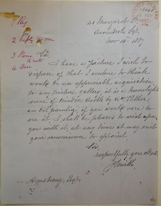 Letter from John Smith, 10 November 1887