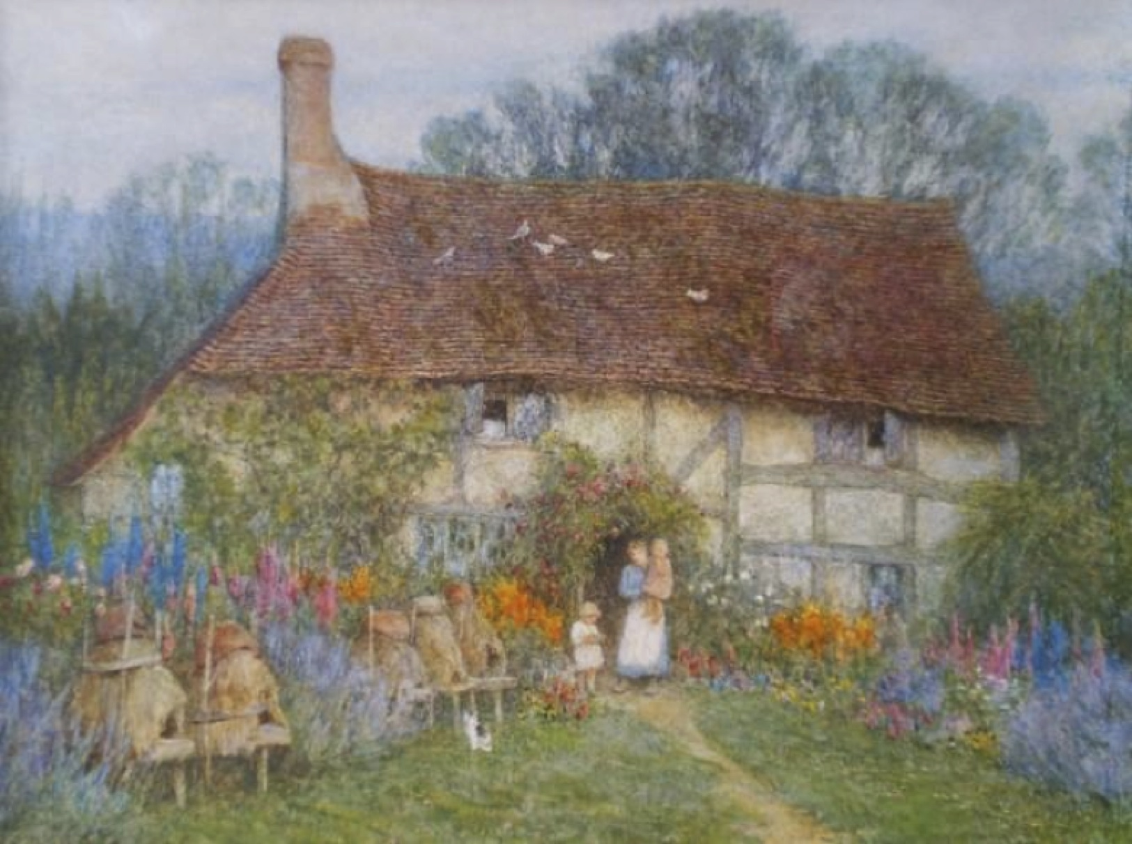 English country garden paintings - A Surrey Cottage 1880 Watercolour By Helen Allingham Courtesy Of Burgh House