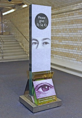 'The Eyes Have It', V&A donations case showing artist's intervention