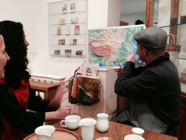 Tim D'Offay identifying regional tea producers during tea tasting visit at Postcard Teas