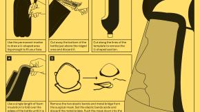 How to Guide: Makeshift Tear-Gas Mask. Illustrated by Marwan Kaabour, at Barnbrook