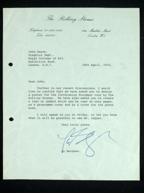 Letter from Jo Bergman of Rolling Stone management commissioning John Pasche to undertake work for a logo for their 1971 European Tour. Museum no.S.6122-2009 © Musidor BV