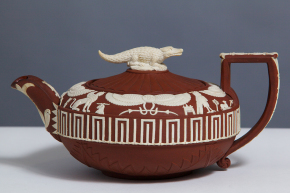 Egyptian-style teapot with crocodile finial, 1800